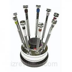 Juego 9 destornilladores CEE con zócalo y mechas intercambiables.