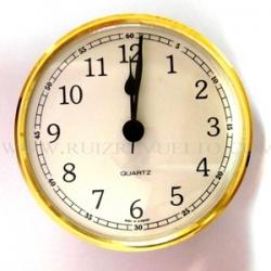 reloj insertar 66 mm numeros arabes esfera blanca bisel dorado