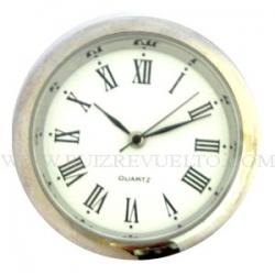 reloj insertar 35 mm  numeros romanos esfera blanca bisel cromado