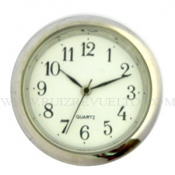 reloj insertar 35 mm números árabes esfera blanca bisel dorado