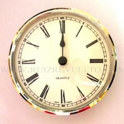 reloj insertar 85 mm numeros romanos esfera blanca bisel cromado