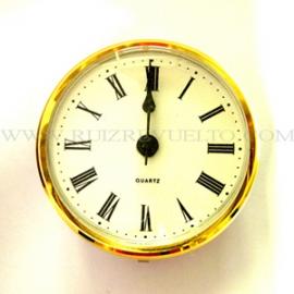 reloj insertar 85 mm numeros romanos esfera blanca bisel dorado