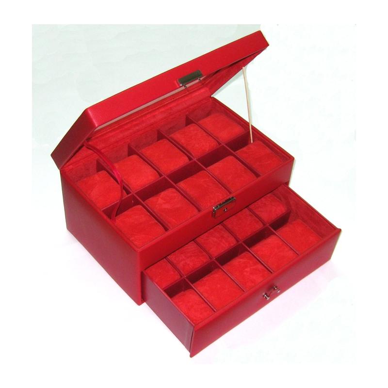 Cajas de relojes Estuche-n-320-s-piel-rojo-20-relojes