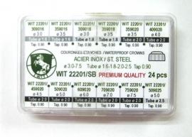 surtido 24 coronas acuaticas acero inox WIT de 3.5 a 7.5 mm R-90