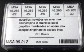 Surtido 200 pz moleteado 1.10 mm dm ancho 22 a 30 mm