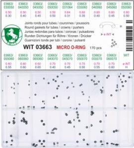 """Surtido de 170 juntas redondas micro """"o-ring"""" para pulsador"""