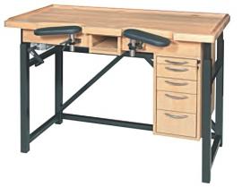 Mesa de madera con altura regulada con manivela MSA