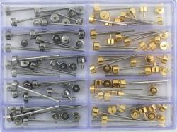 Surtido de pasadores gruesos de acero y chapados H105