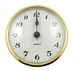 reloj insertar 72 mm numeros arabes esfera blanca bisel dorado