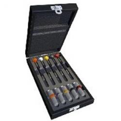 juego5 destornilladores ergonometricos  en caja madera
