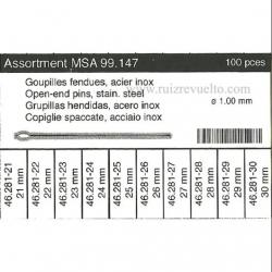 Surtido 100 pz horquilla de armis 1.00 mm dm 21 a 30 mm MSA 99.147